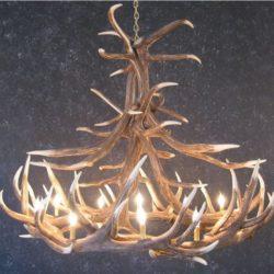 Cast Horn Designs Faux 12 Antler Elk Chandelier